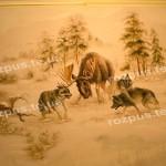 Декор стін. Мисливці, лось і вовки, охота, полювання.