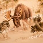 Вовки і лось. Барельєф. Тварини в інтер'єрі. Ліпнина настінна. Напад зграї вовків на лося.