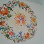 Віночок з петриківки. Восьмикутна зірка. Оздоба віталень в українському стилі. Декор українських осель в  етнічному стилі.