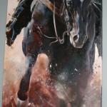 Кінь.Коник.Вороний.Подарунок мужчині. Бегущая лошадь.Родео. Перегони. Скачки.